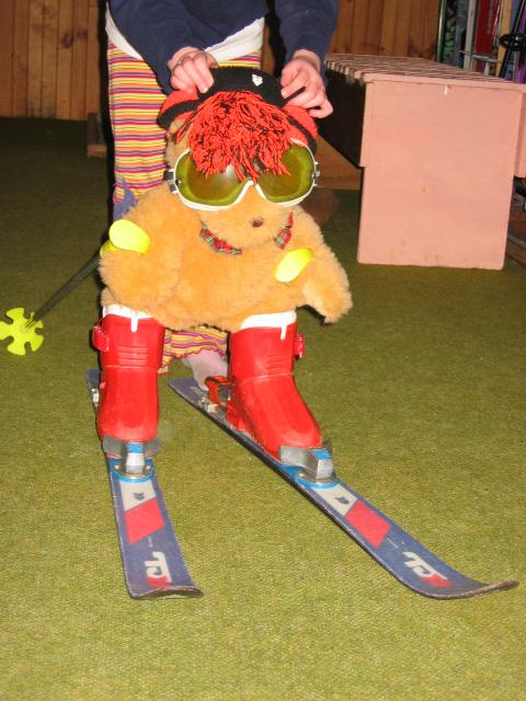 image of Teddy bear on ski's