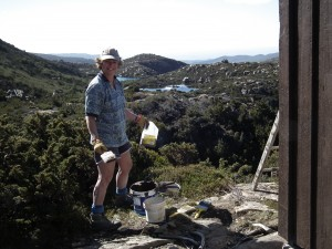 Karen Davis ready to paint the Rodway Tow Hut