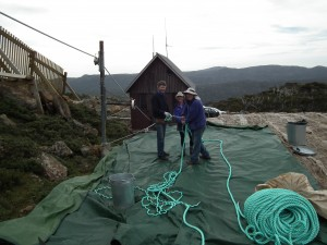 Ambrose Canning, Karen Davis and Julian Oakes splicing the Mawson rope