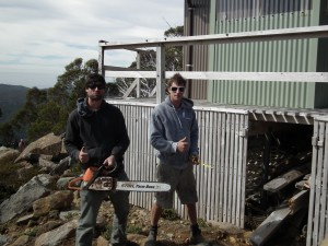 Owen Summers and Mat Cook tackle the Belt Issue Hut repair