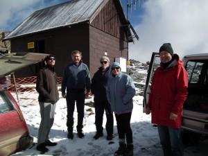 George Brettingham-Moore, Tim Metcalf, Adrian Brettingham Moore, Liz Koolhof and Ambrose Canning ready for action
