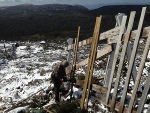 Adrian tackles Mawson snow fence repair