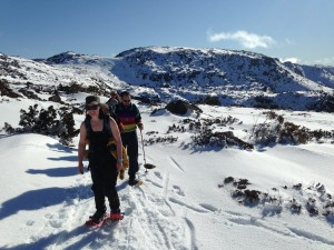 Snowshoeing back from the Tarn Shelf - Tassie winter style!