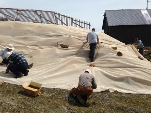 Nick and Adrian install shadecloth at Mt Mawson