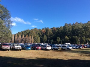 The car park fills for the Mt Field Centenary & Fagus Festival