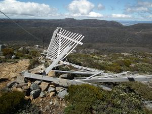 Damaged snow fence at Mt Mawson