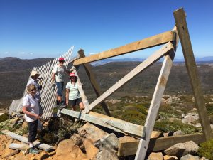 Partially completed snow fence repair - Mt Mawson 29 Jan 2017