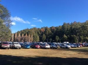 The car park fills for the Mt Field Centenary & Fagus Festival